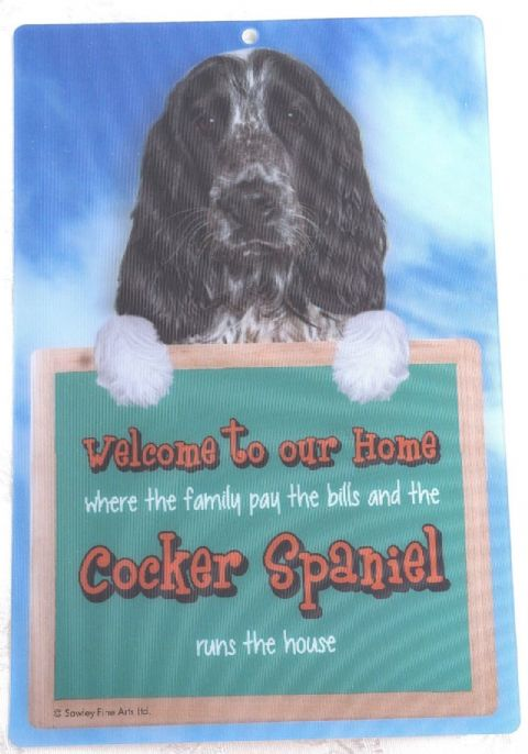 COCKER SPANIEL 3D DOG WELCOME SIGN STUNNING EYE CATCHING 23CM X 15CM DOG SIGN